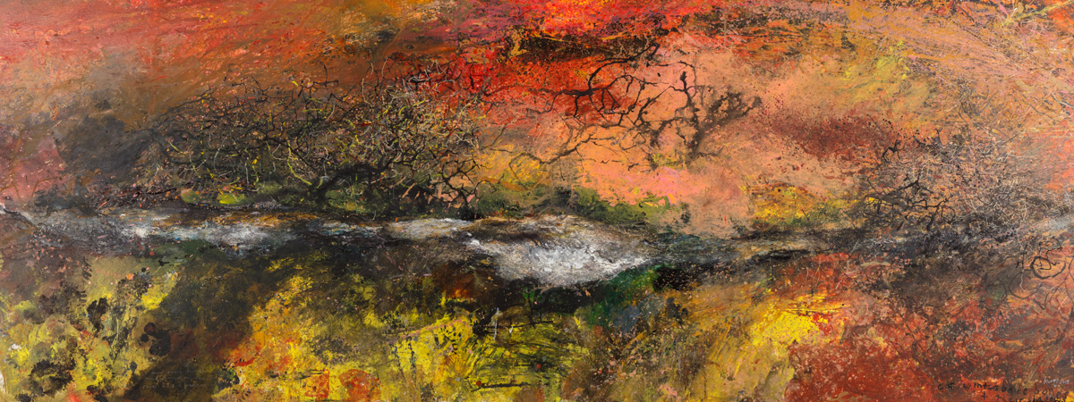 Kurt Jackson - Cot winter's bare bones and their shadows. 2015. mixed media on linen. 125 x 325cm.