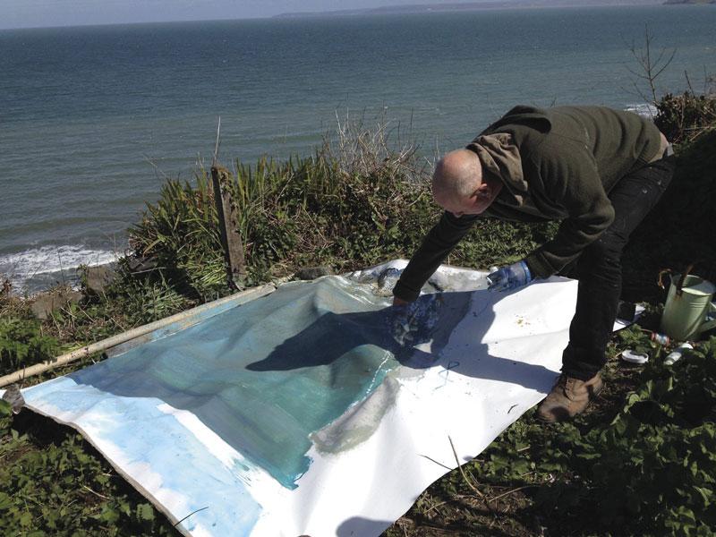 Kurt Jackson Paints A Large Canvas At Clovelly.