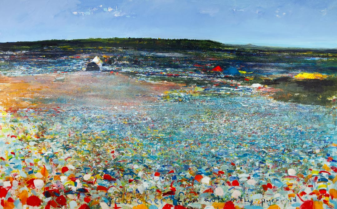 Kurt Jackson: Scorcher, Femi Kuti on the Pyramid stage, Glastonbury 2010.   mixed media on linen.   200 x 320cm.
