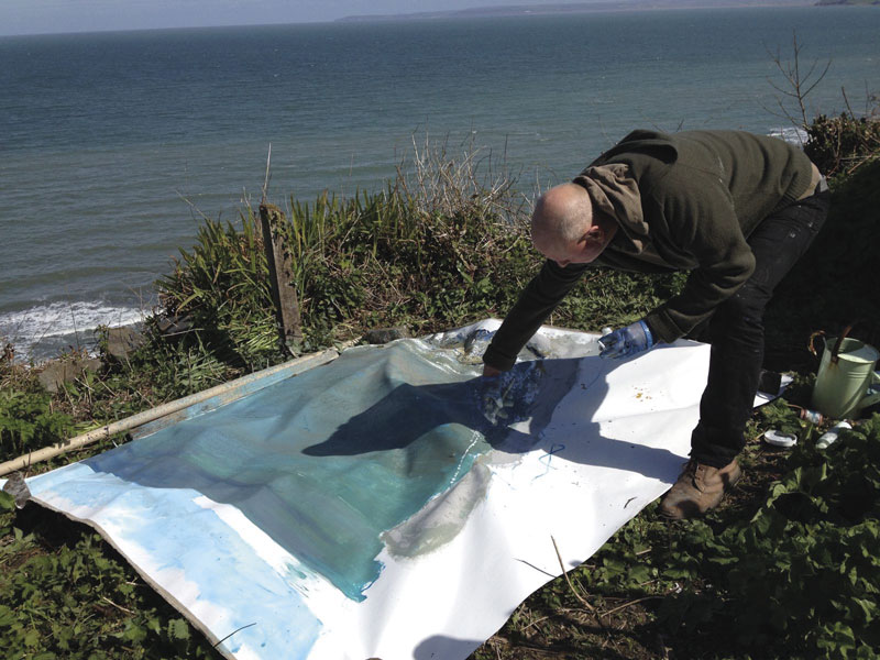 Kurt Jackson Paints A Large Canvas At Clovelly.