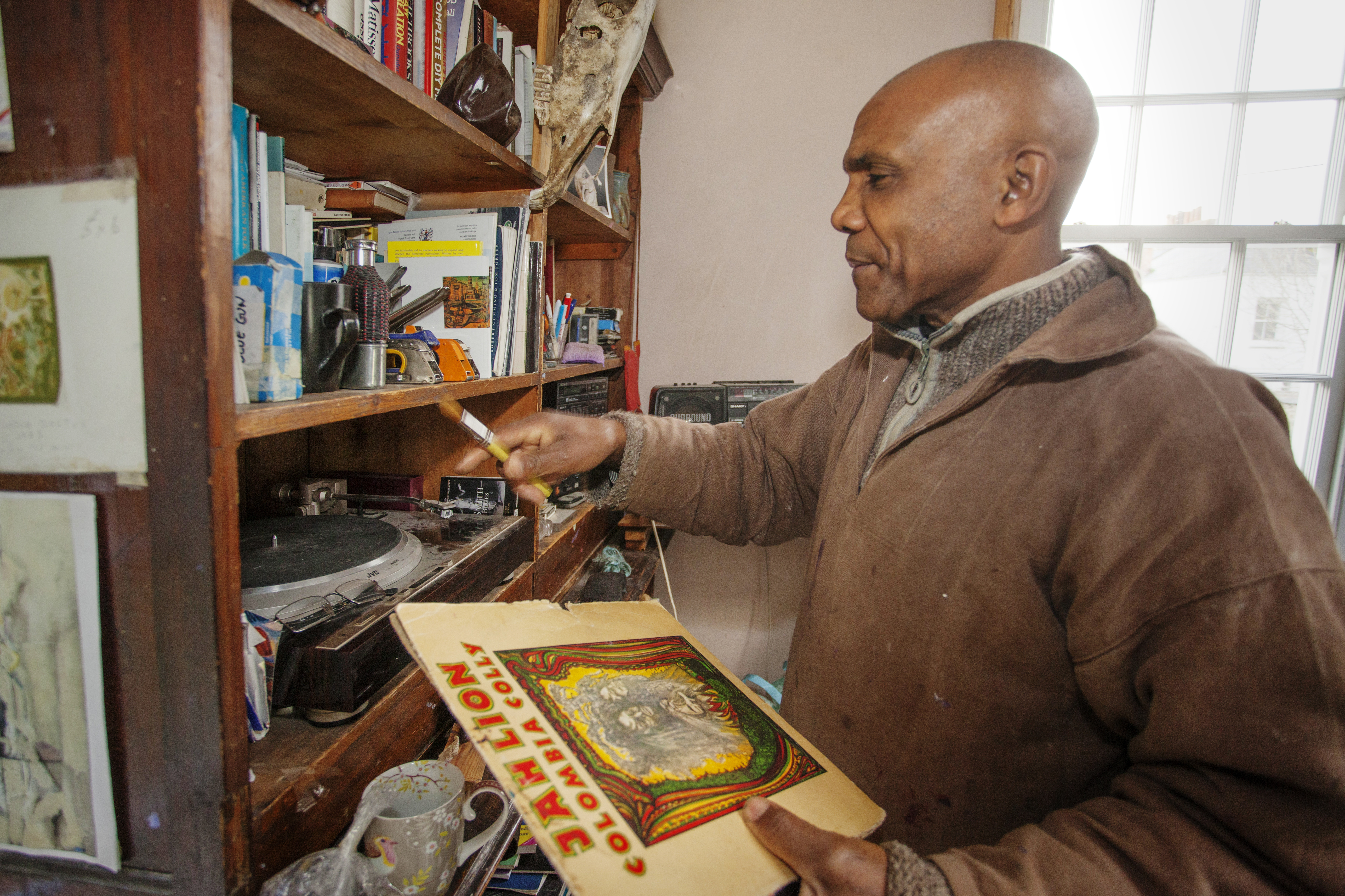 Artist Denzil Forrester in his studio.