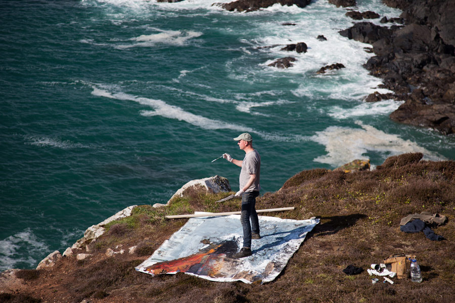 Kurt Jackson Paints on a Cornish Cliff.
